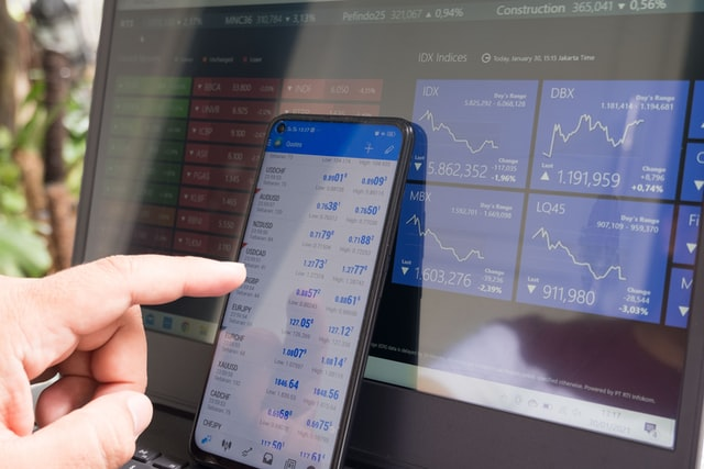 Stock trading platform showing stock quotes and trend charts